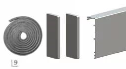Aлюминевая маскировочная планка HERLUKES GLASS 2010мм, с заглушками, анод. серебро
